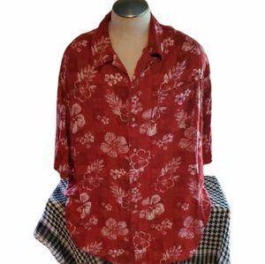 Mens Hawaiian 3XL Tropical Red Shirt White Flowers